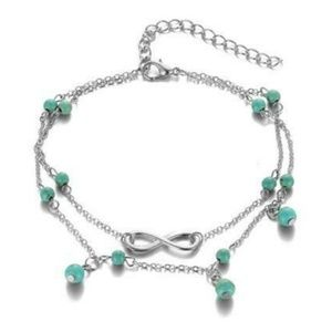 14k White Gold Plated Turquoise Bead Anklet